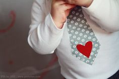 LITTLE HEARTBREAKER Valentines Day Boys Tie Shirt or Onesie in Grey Dot with Red Heart Sizes 3m-6T. $18.95, via Etsy.