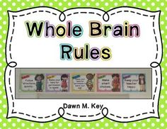 Whole Brain Rule PostersRule 1. Follow directions quickly Rule 2. Raise your hand for permission to speakRule 3. Raise your hand for permission to leave your seatRule 4. Make smart choicesRule 5. Keep your teacher happyFor more information on Whole Brain Teaching or for additional resources, please visit www.wholebrainteaching.com.If you have any questions, please email me.