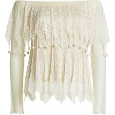 Alexander McQueen Lace Off-Shoulder Top (€939) ❤ liked on Polyvore featuring tops, shirts, beige, off shoulder tops, lace off the shoulder top, off shoulder lace top, sheer white shirt and sheer lace top