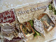 Dzisiaj jeszcze 4 kartki z pięknej kolekcji   Our Country Christmas  z  Riddersholm Design      Kartki udekorowałam maleńkimi tagami z tej...