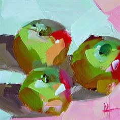 """Daily Paintworks - """"Three Apples no. 4 Painting"""" - Original Fine Art for Sale - © Angela Moulton"""