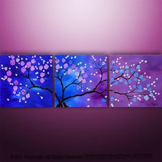 Large Abstract Modern Asian Zen Blossom Tree Landscape by Catalin, $199.00