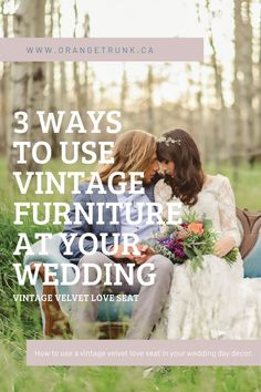 Vintage furniture rentals in your wedding design can be easy, with this how to guide on where to use them to create a cohesive decor style.  Rent vintage velvet love seats and other vintage furniture from Orange Trunk Vintage Rentals in Calgary, Alberta, Canada. Simple Wedding Decorations, Simple Weddings, Wedding Themes, Wedding Vendors, Wedding Events, Wedding Day, Wedding Table Seating, Ceremony Seating, Wedding Images