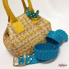 Bolsa feminina artesanal, confeccionada em couro tressê. Cinto feminino em couro trançado e bracelete feminino em couro, com base de metal.
