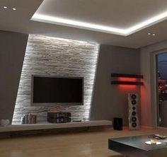 Wohnzimmer Tv Wand Design - - Albyna F - Soaking Tubs Home Lighting Design, Ceiling Design, Lighting Concepts, Interior Lighting, Lighting Ideas, Tv Wand Design, Living Room Designs, Living Room Decor, Tv Wall Ideas Living Room