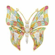 Gold, Plique-a-Jour Enamel and Diamond Butterfly Clip-Brooch 18 kt., round diamonds ap. .60 ct., ap. 14 dwts.