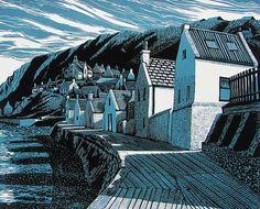 Original lino prints by Scottish Artist Bryan Angus Lino Art, Linoprint, Wood Engraving, Tampons, Linocut Prints, Gravure, Art Plastique, Woodblock Print, Printmaking