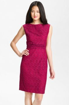Adrianna Papell Pink Empire Waist Lace Sheath Dress |  Delicate ruching bands the Empire-waist of a cotton sheath dress featuring a charming tonal lace overlay. Hidden back zip closure. Back vent.