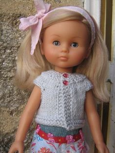 Camille was produced for a short time as a light blonde; and I think this is the one with pink streaks in her hair. I've named her Chiffon. Ag Dolls, Doll Toys, Girl Dolls, Barbie Dolls, Knitting Increase, Pink Streaks, Nancy Doll, Light Blonde, Knitted Dolls