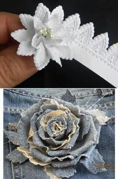 Flores tejidasyen jean Fabric Flower Headbands, Organza Flowers, Fabric Flowers, Denim Flowers, Felt Flowers, Dog Hair Bows, Fabric Brooch, Denim Crafts, Ribbon Art