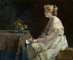 The Present or Temptation (c.1865).Alfred Stevens(Belgian, 1823-1906).Oil on canvas. The National Gallery, London.The pansy (pensée in French) held by the woman (which had apparently fallen from the note she is holding in her left hand) is probably a symbol of faithfulness conveyed by the sender. Letters, in combination with the pose and expression of the woman, are often telling in Stevens' work.