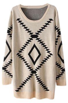 ROMWE   Geometric Pattern Cream Jumper, The Latest Street Fashion