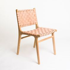 The Tanner dining chair is a classic. Woven leather on a blonde teak frame they are the perfect statement to any dining room. Available in white, grey, black, b Leather Dining Chairs, Art Chair, Accent Chairs For Sale, Chair, Pink Office Chair, Garden Table And Chairs, Dining Chairs, Cool Chairs, Outdoor Chair Pads