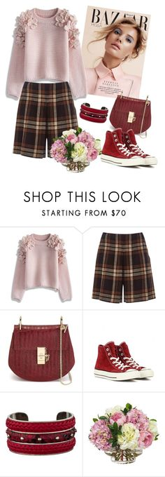 """""""Untitled #295"""" by mira-wiryanti ❤ liked on Polyvore featuring Chicwish, Alberta Ferretti, Chloé, Converse, Tod's and Diane James"""