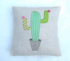 "Cactus cushion cover, decorative, throw cushion. Appliquéd cotton on linen, 16""/40cm. Free motion embroidery."