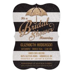 Glittering Black & White Bold Stripes with Gold Umbrella Bridal Shower Invitations.