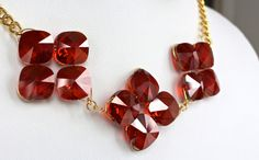 Crimson Quatrefoils Necklace by DesignsbyStacyLee on Etsy - red statement necklace
