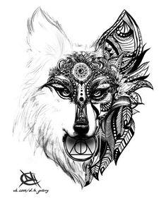 Mandala fox by idarkhearti Funny Drawings, Animal Drawings, Art Drawings, Fuchs Tattoo, Kunst Tattoos, Fox Tattoo, Cartoon Background, Animal Wallpaper, Zentangle Patterns