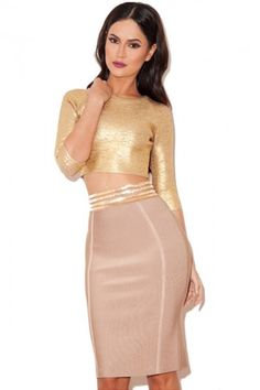 831bdf0e5ed02 Nude and Gold Two-piece Bandage Skirt Set Gold Two Piece