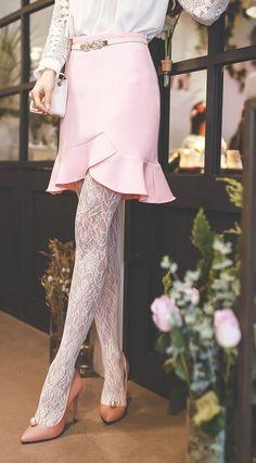 StyleOnme_Tulip Line Frilled Skirt #skirt #frileed #tulip #girly #adorable
