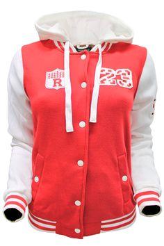 Hooded Fleece Varsity Jacket