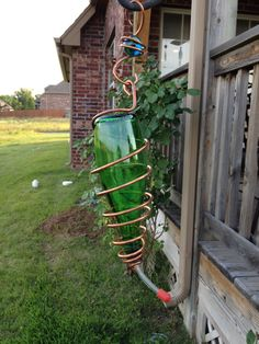 Upcycled Perrier Bottle Hummingbird Feeder