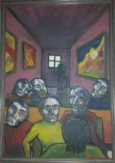 """""""Group of Seven"""" 1995 oil on wood panel by Emin Jeremy Kolosine. Seven 1995, Group Of Seven, Wood Paneling, My Drawings, Painting & Drawing, Scrapbook, Paintings, Oil, Wooden Panelling"""