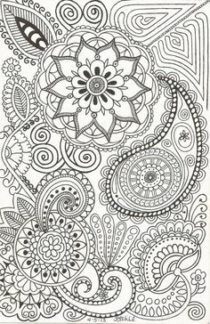 Henna-Inspired Doodle of Paisleys, Flowers, Swirls and Such on Etsy, $1.50