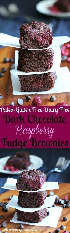 Dark Chocolate Raspberry Fudge Brownies - paleo brownies with an easy homemade raspberry swirl - gluten free dairy free grain free