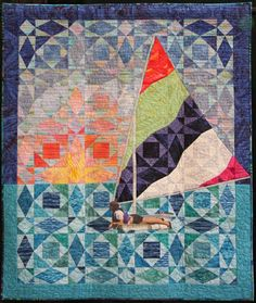 """""""Mariner"""", 40 x 48"""", by Karen Watts. A clever storm-at-sea quilt. Made with batiks.."""
