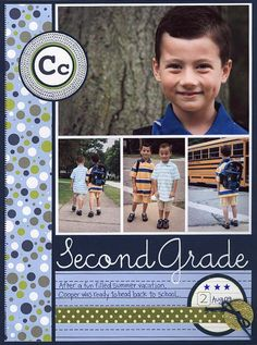 I don't have any school photos, but I really like this four photo layout with the title on the bottom.