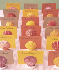 shells used as seating card holders | very cute for Florida weddings.