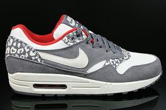 check out d0cb7 7566b Nike Air Max 1 Women s Running Shoe Leopard Gray White Cream Red HOT SALE!  HOT