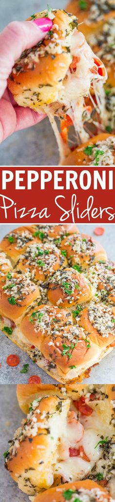 Pepperoni Pizza Sliders - Pizza by way of supremely cheesy sliders!! EASY, ready in 15 minutes, and perfect for parties because everyone LOVES them! Totally IRRESISTIBLE!!