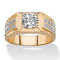 Palm Beach Jewelry PalmBeach Men's 1 7/8ct TCW Round and Pave White Cubic Zirconia Double Row Ring 14k Goldplated (Size