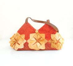 Lotus Flower Bag  Manipulated Vintage Fabric by StarBags on Etsy, $143.00
