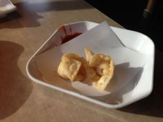 my favorite - crab rangoon- hot pockets filled with cream cheese and crab.Easy to make but easier to eat.