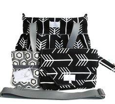 Diaper Bag Gift Set - Black Arrow Diaper Bag - Black Arrow Diaper Clutch Set - Messenger Strap