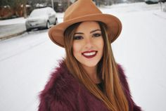 A Thread Of Couture - Faux fur jacket / Snow outfit / Fedora Hat