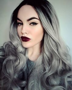Silver Screen - Lush Wigs - Long Grey Hair Lace Front Curls Ombre ...