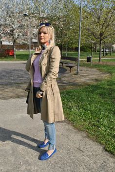 TRENCH COAT, SLIPPERS AND SKINNY JEANS by MariaFelicia on @Sbaam http://sba.am/bqa4sulmg86