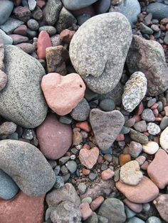 Hearts on the shore of Lake Superior