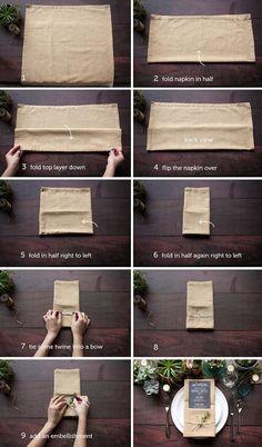 diy napkin folding Add a little extra dash of style to your wedding table with this easy step-by-step guide for folding your wedding napkins. We are so thrilled to feature these wond Trendy Wedding, Dream Wedding, Wedding Rustic, Wedding Reception, Chic Wedding, Rustic Wedding Tables, Diy Wedding Table Decorations, Diy Wedding Menu Cards, Banquet Table Decorations