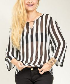 Love this Black & White Sheer Stripe Hi-Low Top - Plus on #zulily! #zulilyfinds