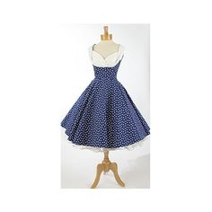 1950s Style Dresses-Trashy Diva Navy Blue Polka Dot Honey Dress ($176) ❤ liked on Polyvore
