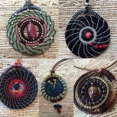 Pine needle pendants, the wearable art for you and your loved ones. All hand coiled with beads, stones, waxed linen and of course Pine Needles! Pine Needle Crafts, Pine Needle Baskets, Native American Crafts, Pine Needles, Homemade Christmas Gifts, Gourd Art, Bijoux Diy, Nature Crafts, Textiles