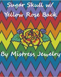 Sugar Skull w/ Yellow Rose 1 & 2 Back Word Map & Chart | Bead-Patterns