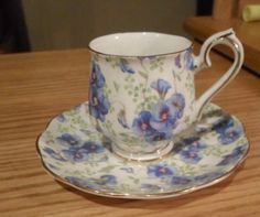 RORAL ALBERT DEMITASSE LILAC CUP AND SAUCER