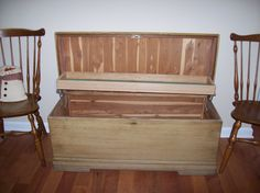 Vintage Cavalier Cedar Chest - Mine is nearly identical. Inherited from my great grandma, I had to strip it and refinish the whole thing. Stained it with Cabernet stain to bring out the richness of the cedar, tiled the top.