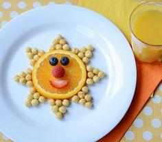 sunshine snack - Kix cereal, orange slice